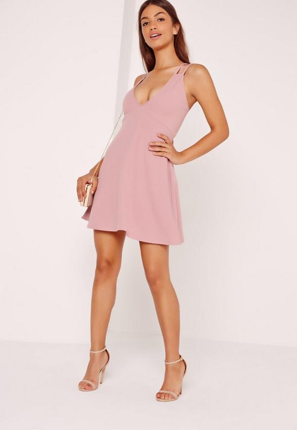 Double Strap Scuba Skater Dress Pink