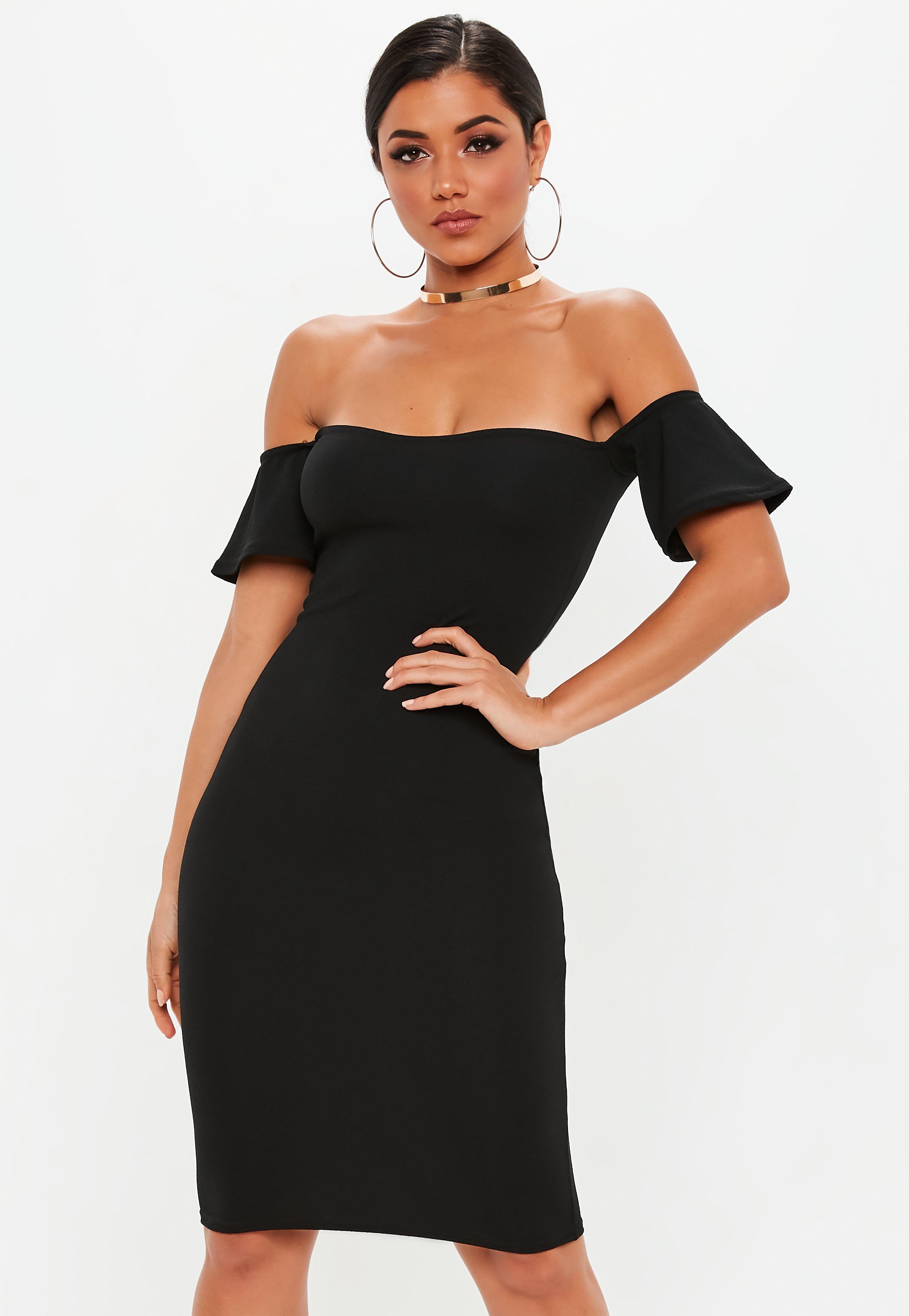 Bardot Dress - Black Only t8n5EFaRep