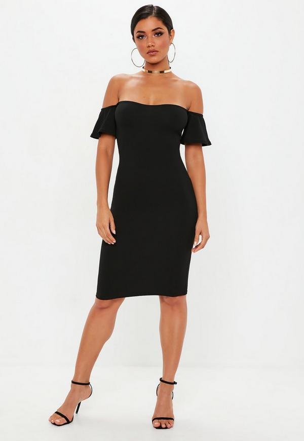 Bardot bodycon dress midi cheap plus sizes