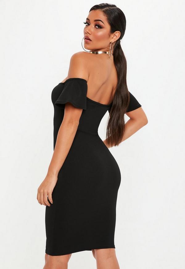 Black midi bodycon dress