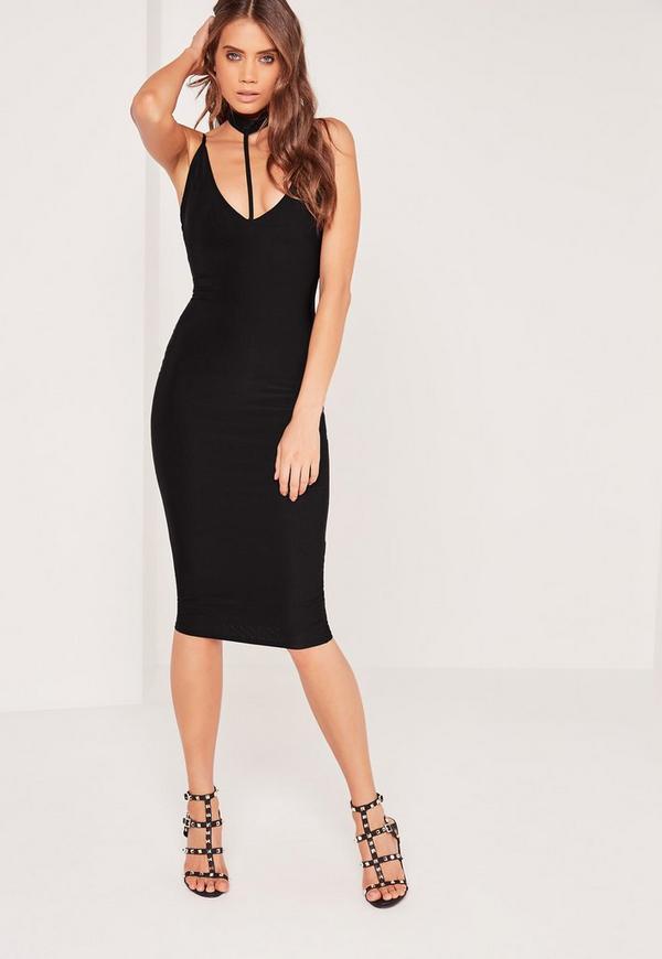 Harness Choker Slinky Midi Dress Black