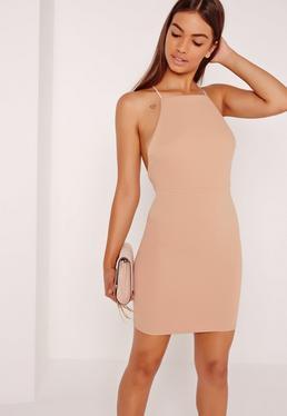 Cross Back Ribbed Mini Dress Nude