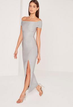 Slinky Bardot Maxi Dress Grey