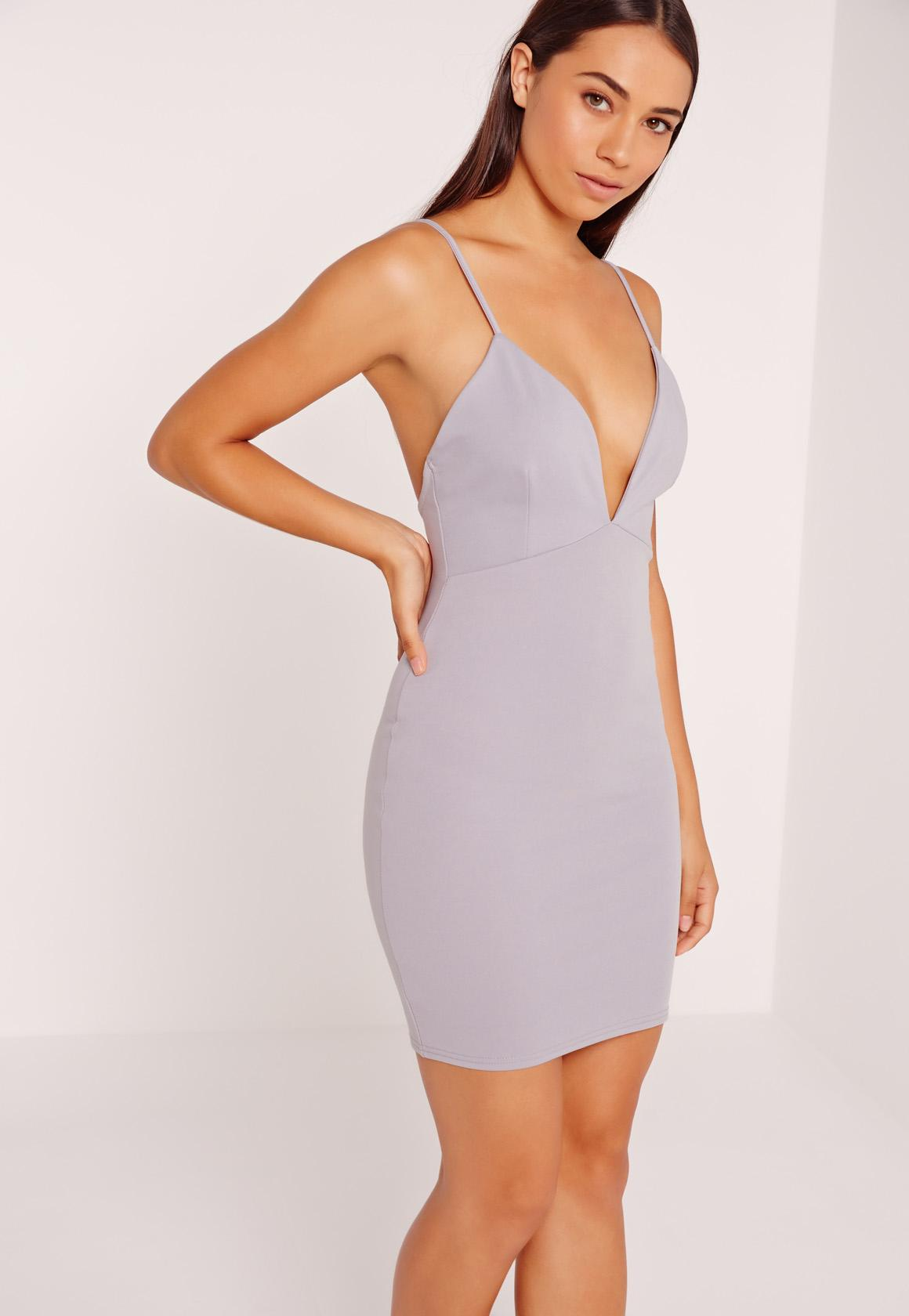 Scuba Strappy Bodycon Dress Ice Grey
