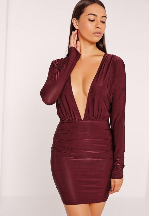 Slinky Long Sleeve Bodycon Dress Burgundy