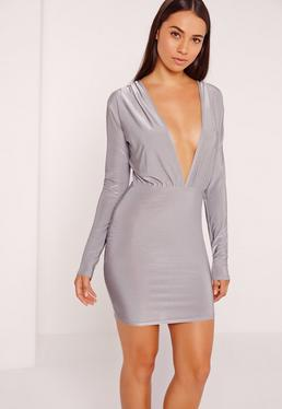 Grey Long Sleeve Deep Plunge Bodycon Dress
