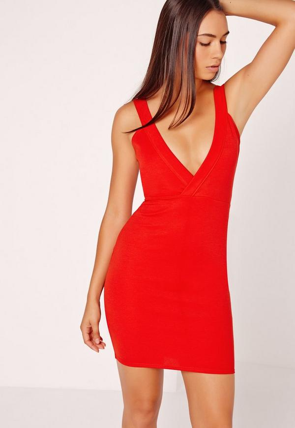 Ponte Plunge Bodycon Dress Red