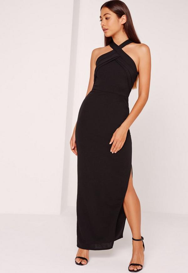 Cross Straps Maxi Dress Black