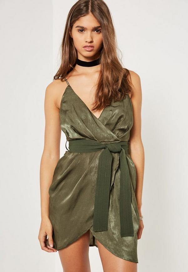 Green Silky Wrap Belted Mini Dress