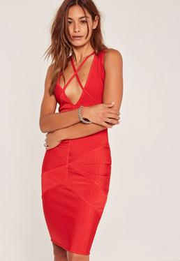 Premium Red Bandage Harness Detail Midi Dress