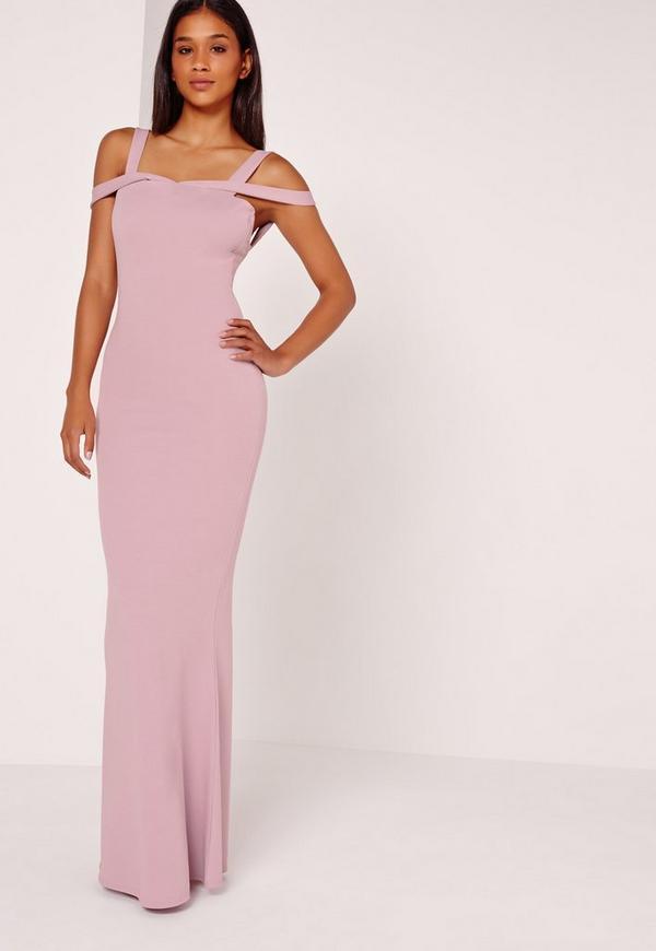 Strappy Bardot Fishtail Maxi Dress Purple