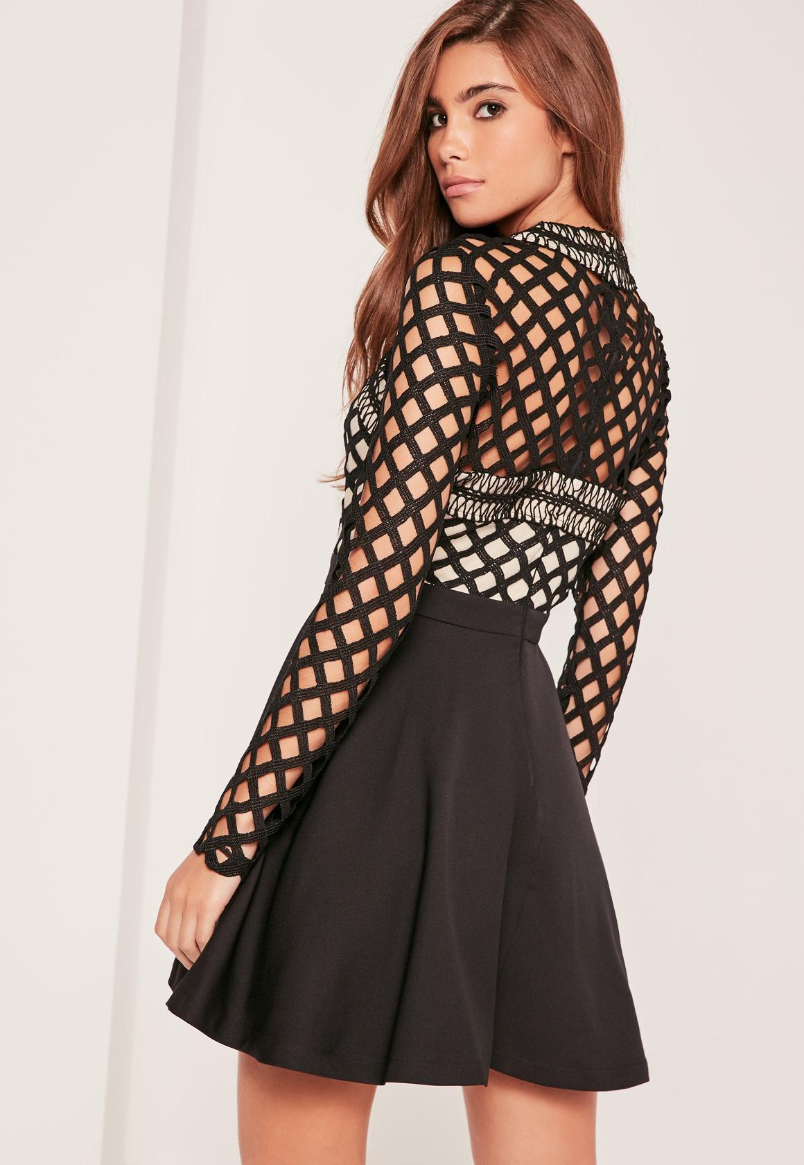 Black Lace Cross Front Skater Dress