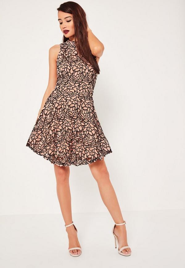 High neck sleeveless lace dress