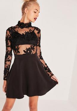 Lace Top Long Sleeve Skater Dress Black
