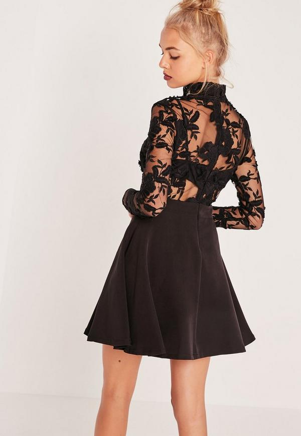 lace top long sleeve skater dress black missguided