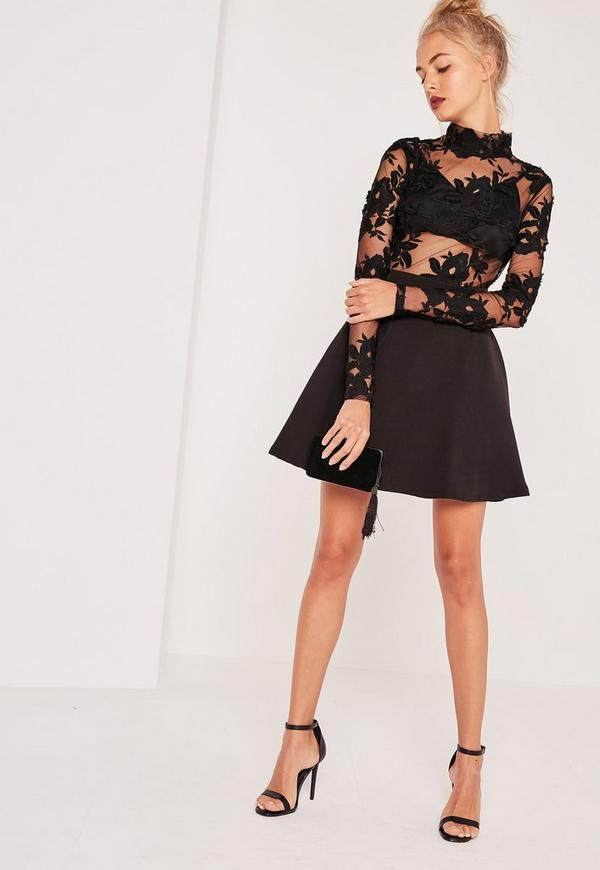 Black spot print round neck long sleeve midi dress Save. Was £ Now £ Red Herring Black zip through modal blend skater dress Billie & blossom tall black lace skater dress Save. £ Sistaglam Silver 'Montana' ombre sequin bardot prom dress Save. Was £ Then £