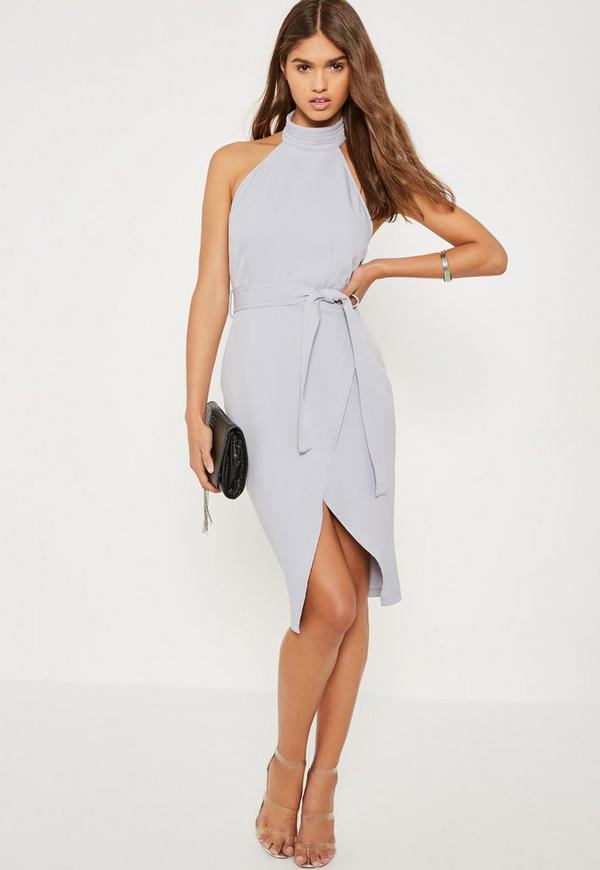 Grey High Neck Belted Tailored Midi Dress