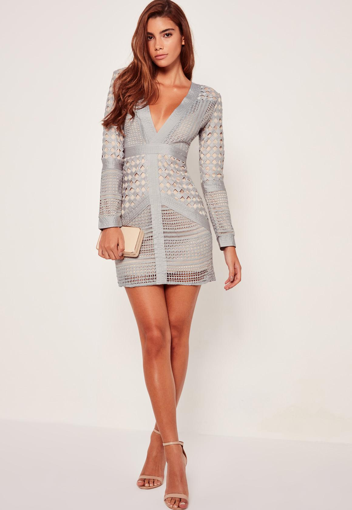423ea7f78d Missguided - Lace Plunge Bodycon Dress Grey