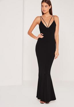 Split Front Strappy Fishtail Maxi Dress Black