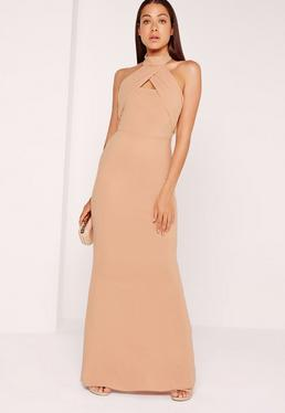 Wrap Halter Maxi Dress Nude