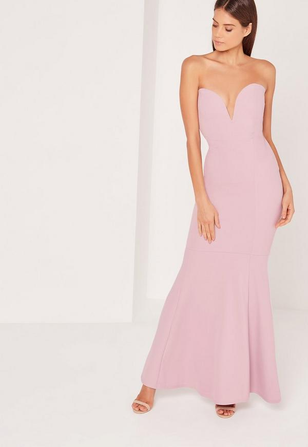 Scuba Bandeau Fishtail Maxi Dress Purple | Missguided