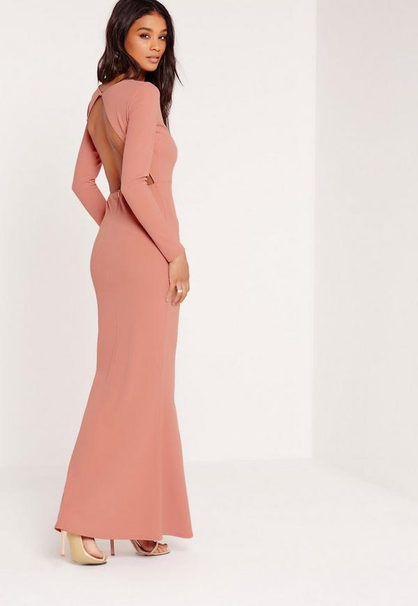 Long Sleeve Open Back Maxi Dress Pink