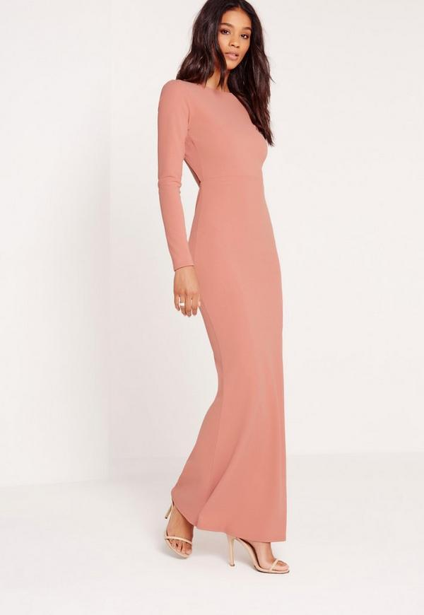 Long Sleeve Open Back Maxi Dress Pink | Missguided - photo #3