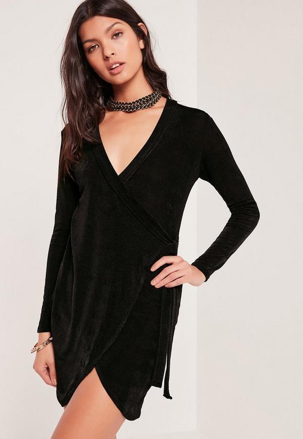 Knot Side Slinky Dress Black