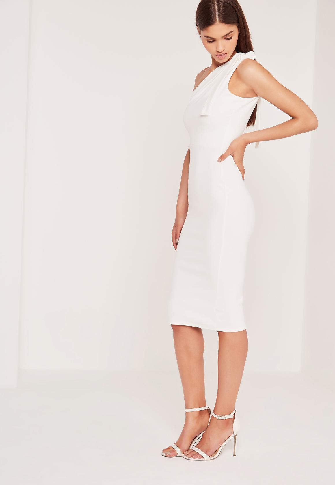 One Shoulder Bodycon Midi Dress White