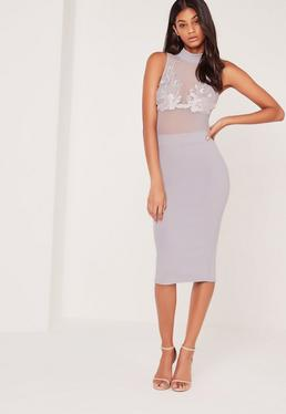 Applique Mesh High Neck Midi Dress Grey