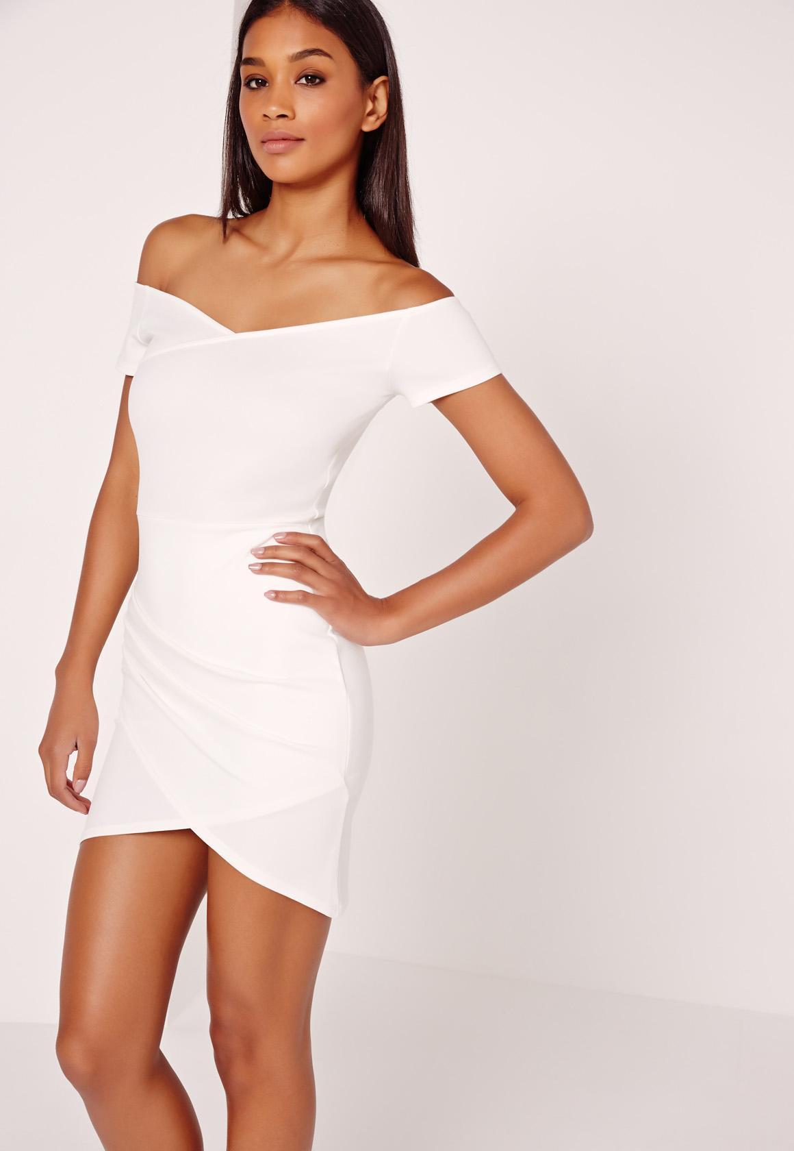 Wrap Bardot Bodycon Dress White - Missguided