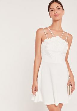 Lace Top Double Strap Skater Dress White
