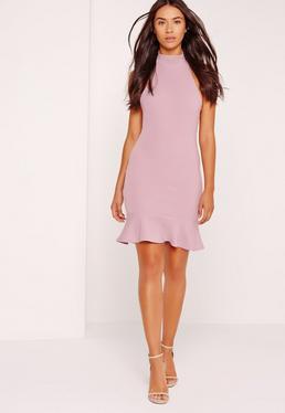 Fishtail Hem Halterneck Bodycon Dress Lilac