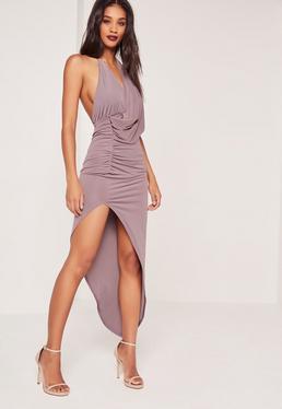 Slinky Drape Asymmetric Midi Dress Grey
