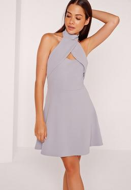 Wrap Halter Skater Dress Ice Grey