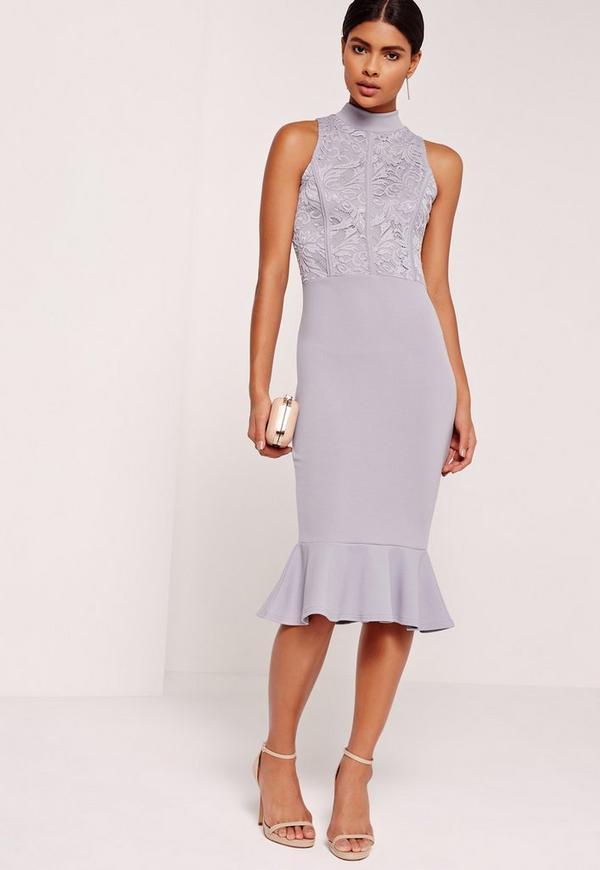 Lace Top Fishtail Midi Dress Lilac Missguided Australia