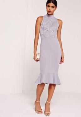 Lace Top Fishtail Midi Dress Lilac