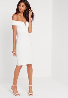 V Front Bardot Midi Dress White