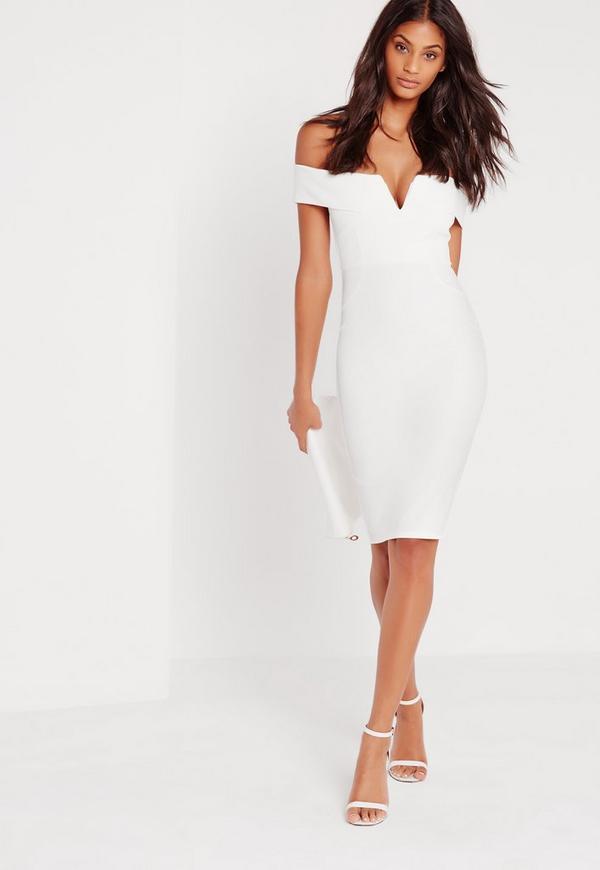 V Front Bardot Midi Dress White Missguided