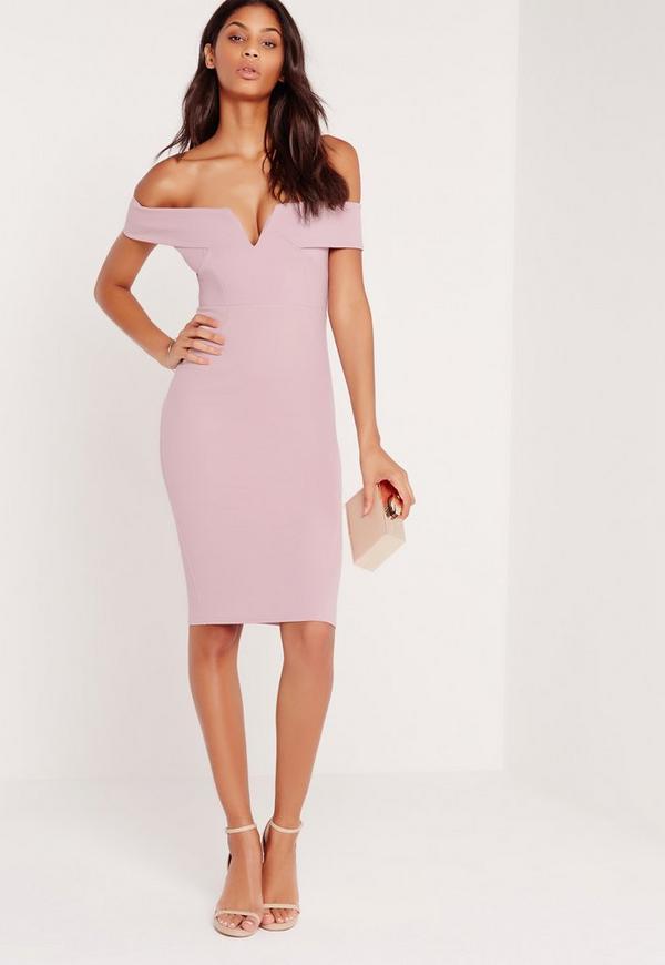 V Front Bardot Midi Dress Lilac
