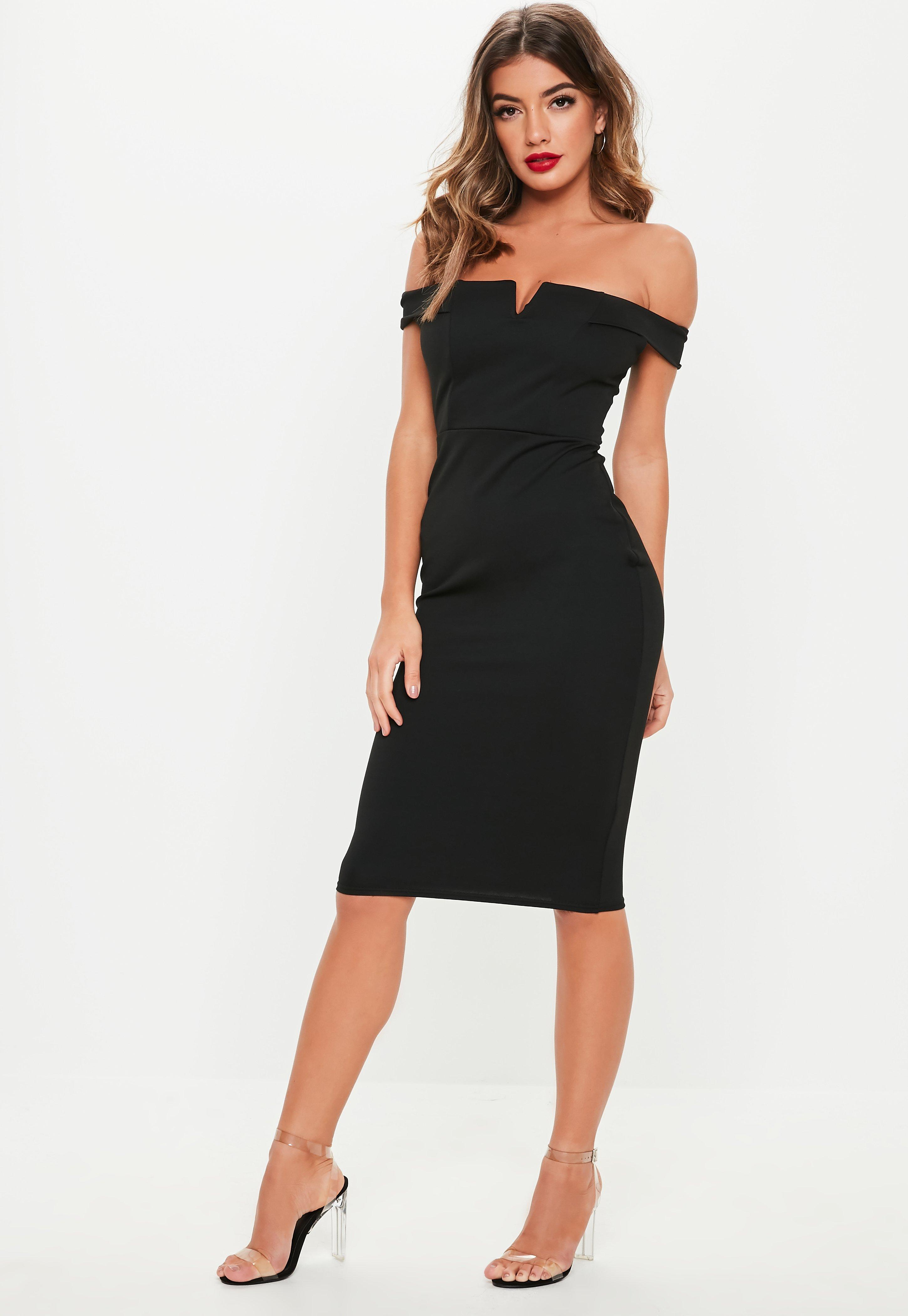 V Front Bardot Midi Dress Black
