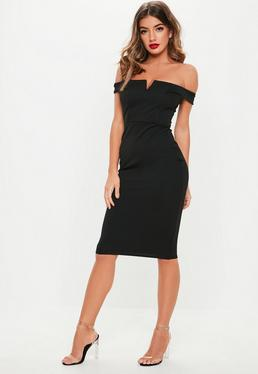 V Front Bardot Midi Dress Black