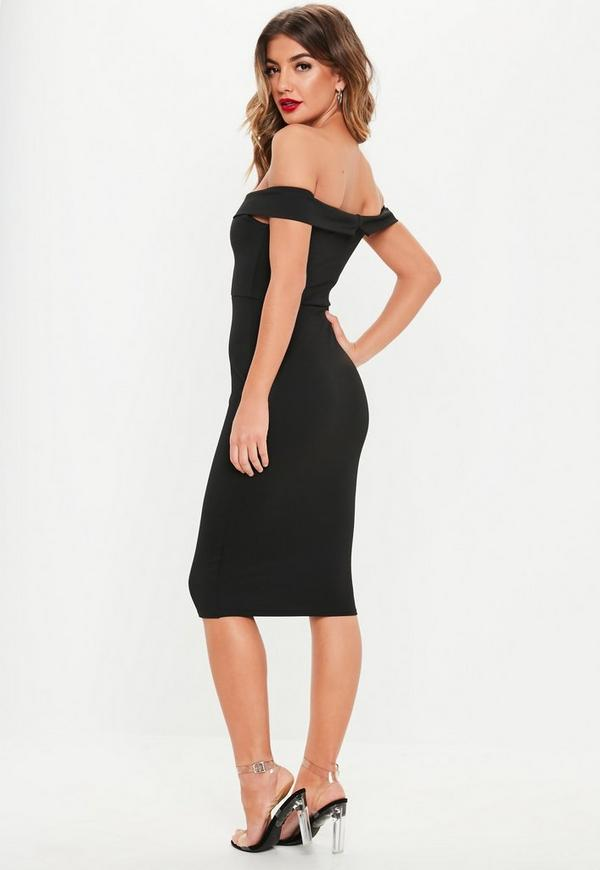 ab92e705d5 V Front Bardot Midi Dress Black. Previous Next