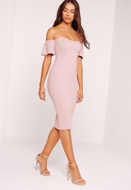 Bardot Bodycon Midi Dress Purple