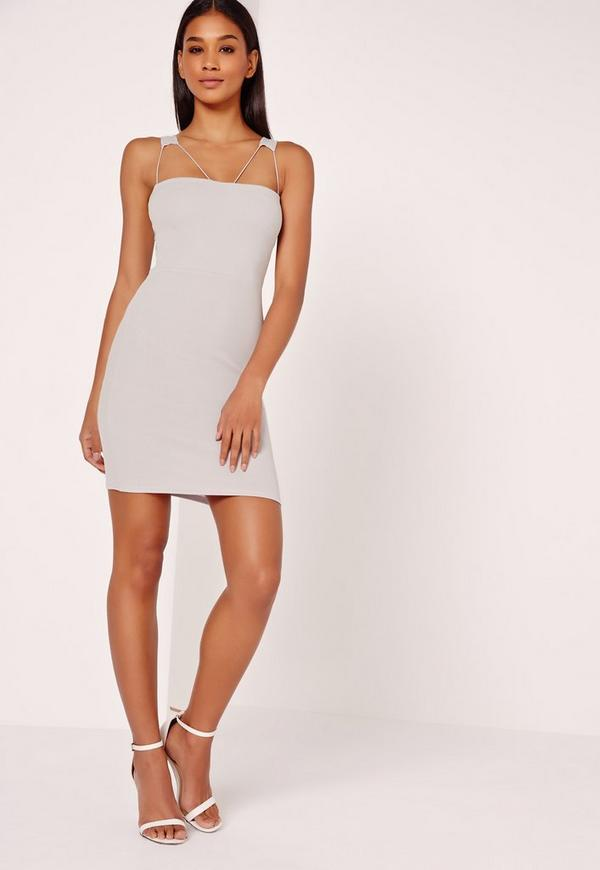 Double Strap Detail Bodycon Dress Grey