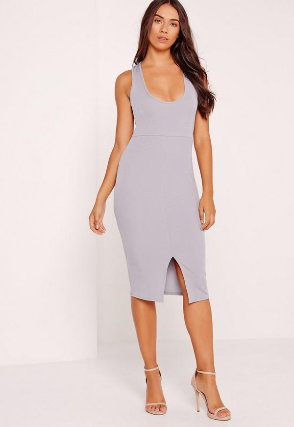Scoop Neck Split Front Ribbed Bodycon Dress Grey
