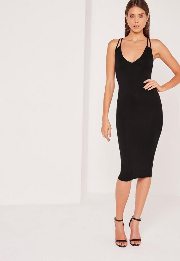 Double Strap Cross Back Plunge Midi Dress Black