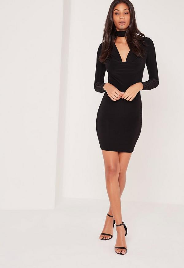 Choker Neck Cowl Bodycon Dress Black