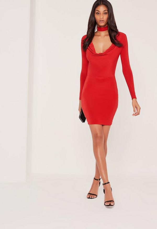 Choker Neck Cowl Bodycon Dress Red
