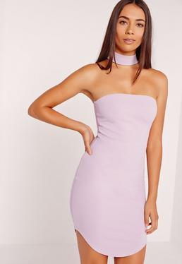 Choker Neck Bandeau Curve Hem Dress Lilac